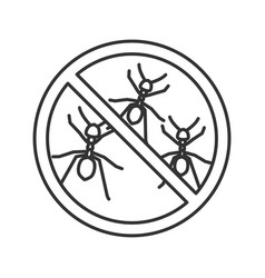 Stop ants sign linear icon vector