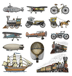 submarine boat and car motorbike horse-drawn vector image
