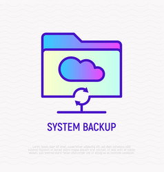 system backup in cloud service thin line icon vector image