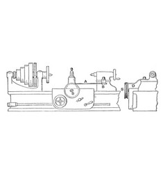 taper turning and boring lathe rig vintage vector image