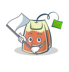 Tea bag character cartoon art with flag vector