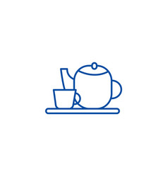 tea cup and teapot line icon concept tea cup and vector image