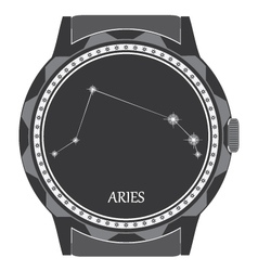The watch dial with zodiac sign aries vector