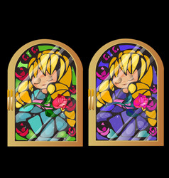Two vintage stained glass window with a picture of vector
