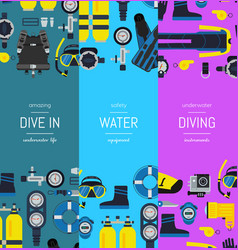 underwater diving vertical banner templates vector image