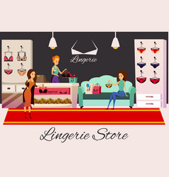 Underwear store flat background vector