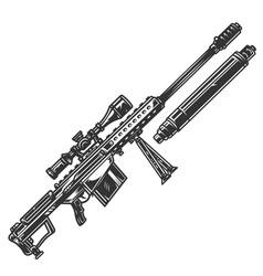 Vintage monochrome sniper rifle concept vector