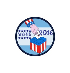 Vote 2016 hand ballot box circle etching vector