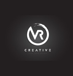 Vr circular letter logo with circle brush design vector