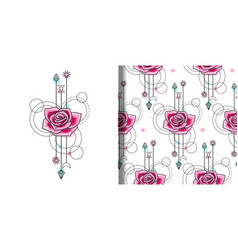 Watercolor rose print and seamless pattern vector