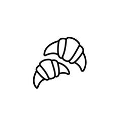 web line icon croissants black on white vector image