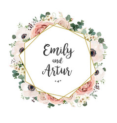 Wedding floral invitation elegant invite card vector