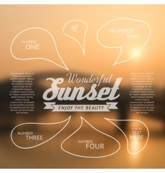 Wonderful sunset text lettering and infographics vector
