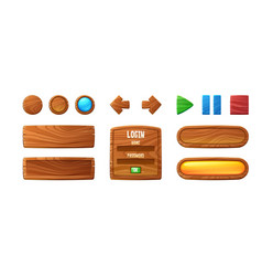 wooden buttons for ui game gui elements vector image