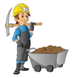 worker holding pickaxe next to wheelbarrow full vector image