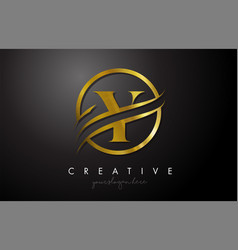 y golden letter logo design with circle swoosh vector image