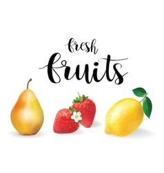 fresh fruit set realistic fruit lemon pear and vector image vector image