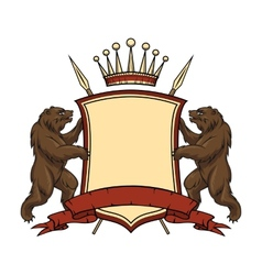 Heraldic logo element Bears with shield and vector image