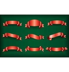 Red ribbons set green vector image