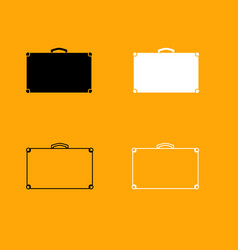 suitcase black and white set icon vector image vector image