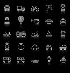 transportation line icons with reflect on black vector image vector image
