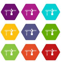 crane icon set color hexahedron vector image vector image