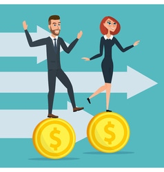 Girl and a man traveling businessmen on coins vector image