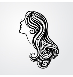 Lady with a long hair portrait vector image