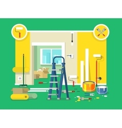 Renovation apartment flat design vector image vector image