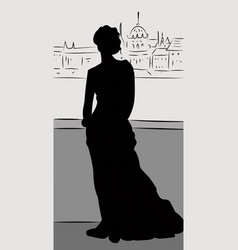 silhouette of legant woman wearing dress standing vector image