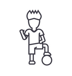 soccer player boy line icon sign vector image