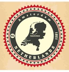 Vintage label-sticker cards of Netherlands vector image vector image