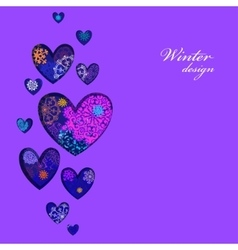 Winter heart design with pink and blue snowflakes vector image vector image