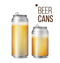 beer cans isolated light bright bubble vector image