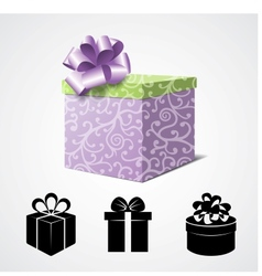 Gift Box Isolated on White and Some Present Icons vector image vector image