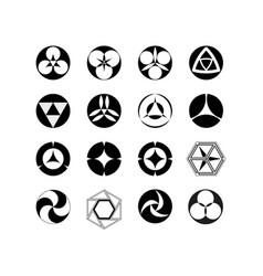 set of logos geometric patterns circle vector image