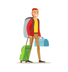 smiling man traveler standing with backpack and vector image vector image