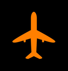 airplane sign orange icon on black vector image