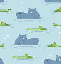 Hippo and crocodile in water seamless pattern Good vector image
