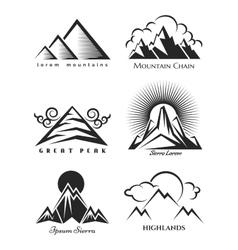 Mountain logo set collection vector image vector image