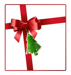 Red bow and ribbon with christmas tree tag vector image