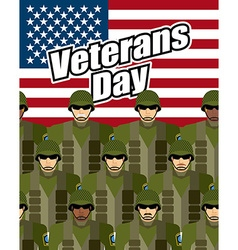 Veterans Day United States military against vector image