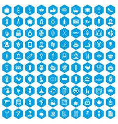100 beauty salon icons set blue vector image