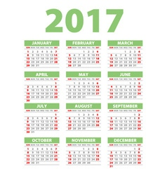 2017 calendar or desk planner 12 month set green vector image