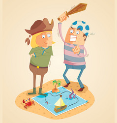 adventure of treasure hunters vector image