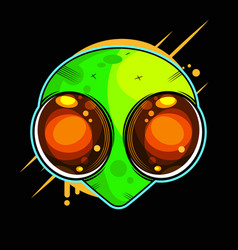 Alien face with large eyes extraterrestrial vector