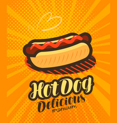 American hot dog fast food poster pop art retro vector