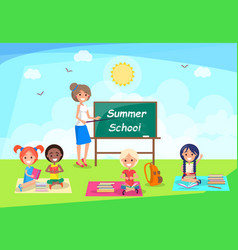 Back to school banner with teacher and pupil in vector