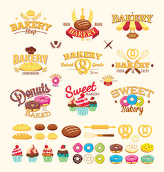 bakery labels logos and design elements vector image