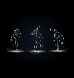 baseball players set metallic linear baseball vector image